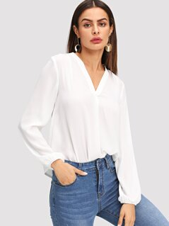 V Neck Blouson Sleeve Solid Top