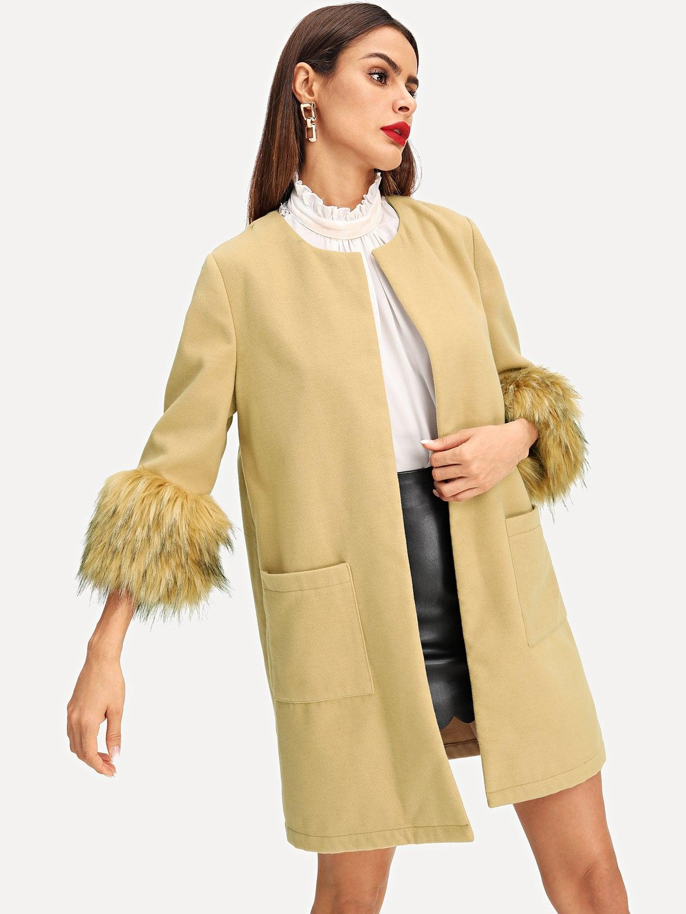 Купить Пальто с карманами и отверстие рукава из искусственных кож, Andy, SheIn