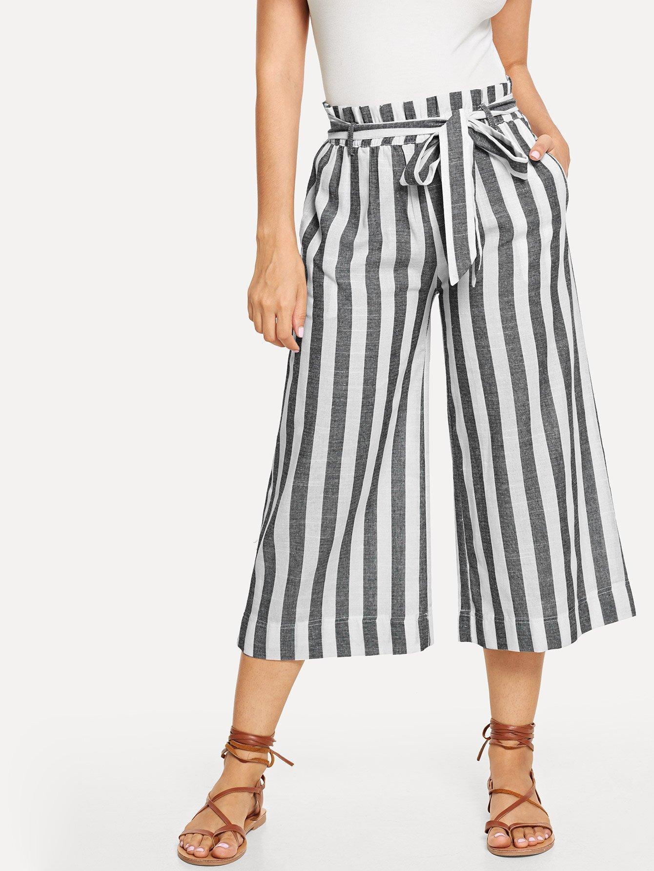 Купить Кусоковые полосатые широкие ножные штаны с поясом, Jeane, SheIn