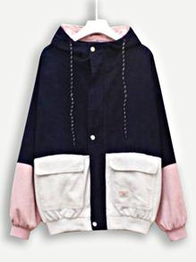 Corduroy Color Block Drawstring Hooded Jacket