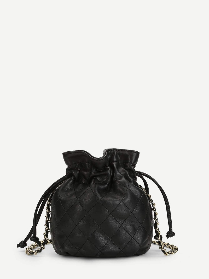 Drawstring Detail PU Chain Bag, Black