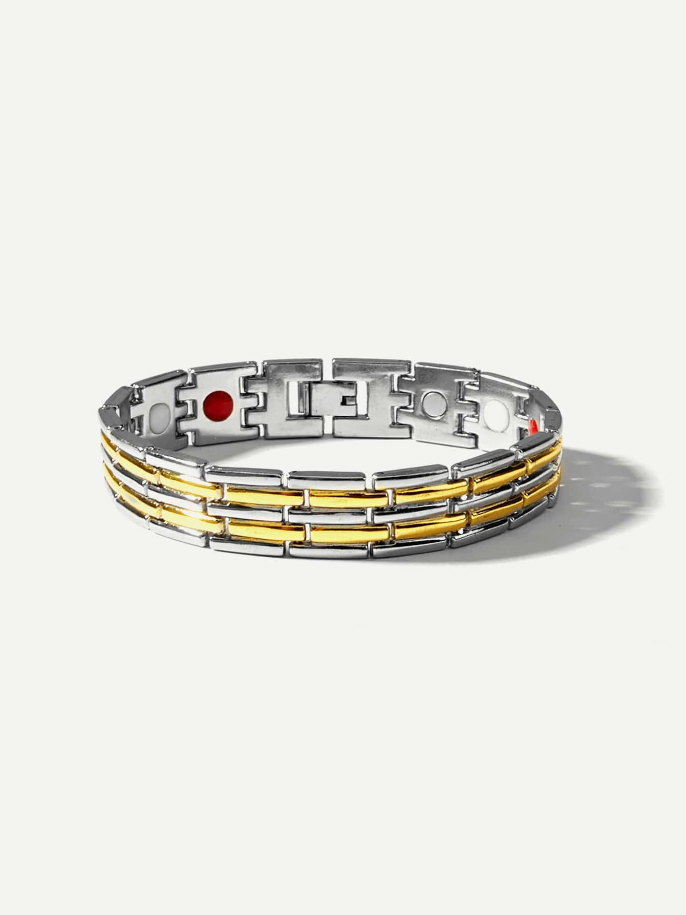 Men Two Tone Wide Magnetic Bracelets Gold Romwe