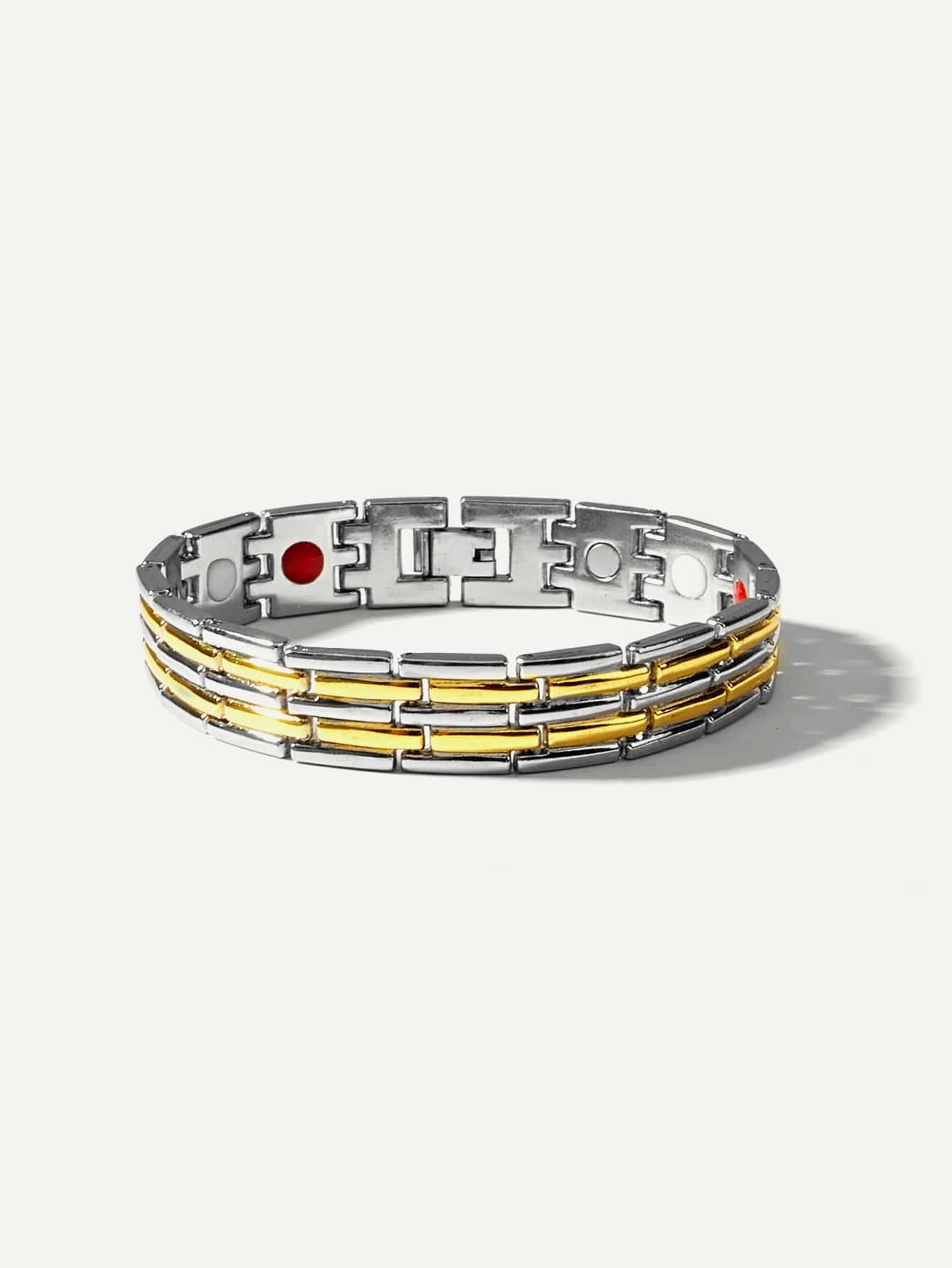 Men Two Tone Wide Magnetic Bracelets