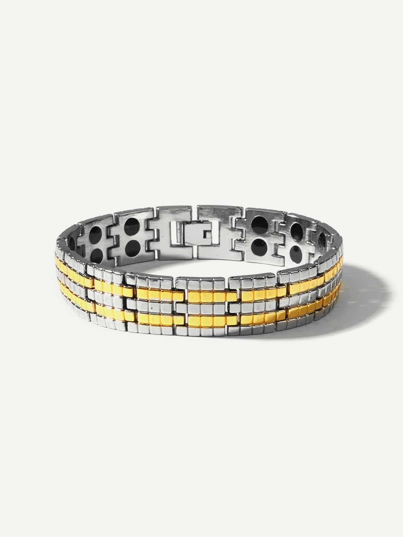 Männer Magnetische Armbänder mit Karo Muster Detai