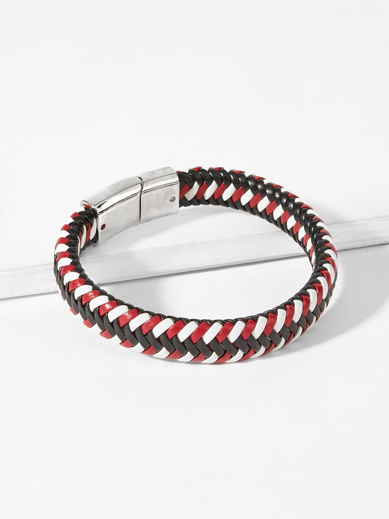 Men Color Block Woven Bracelet