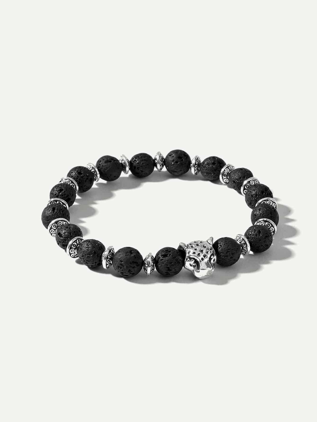 Купить Леопардовый браслет низки жемчуга для мужчины, null, SheIn