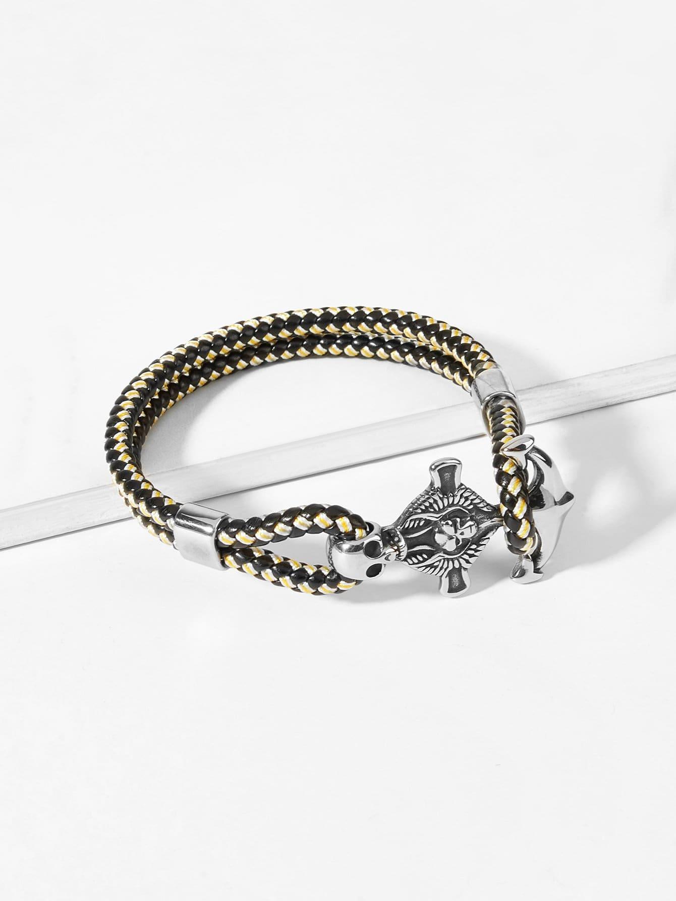 Купить Слойный браслет с украшением скелета для мужчины, null, SheIn