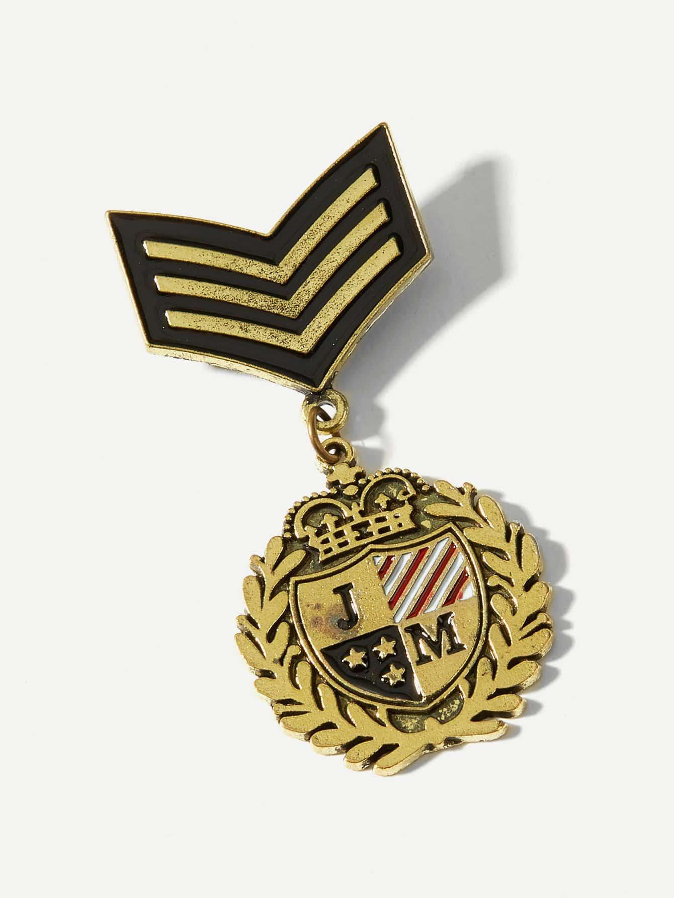 Men Letter Detail Medal Brooch