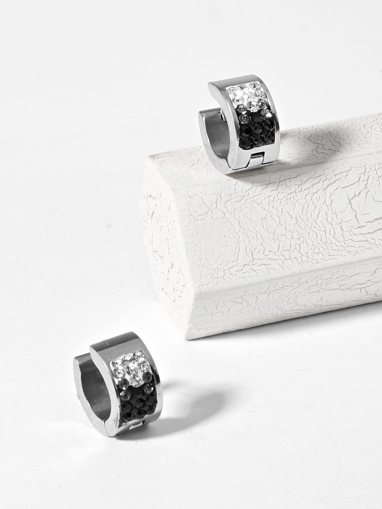 Men Rhinestone Engraved Hoop Earrings