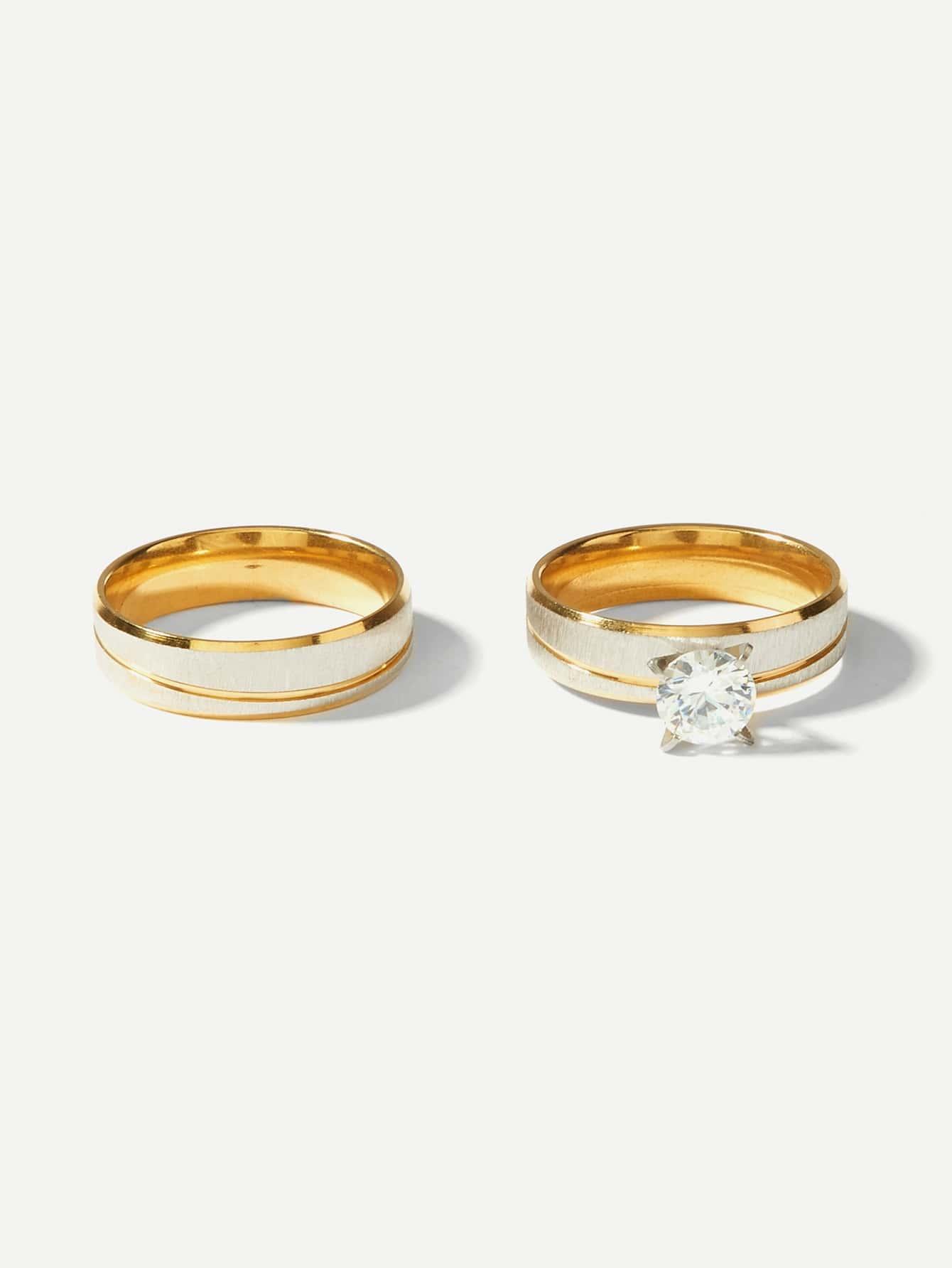 Men Layered Ring With Rhinestone