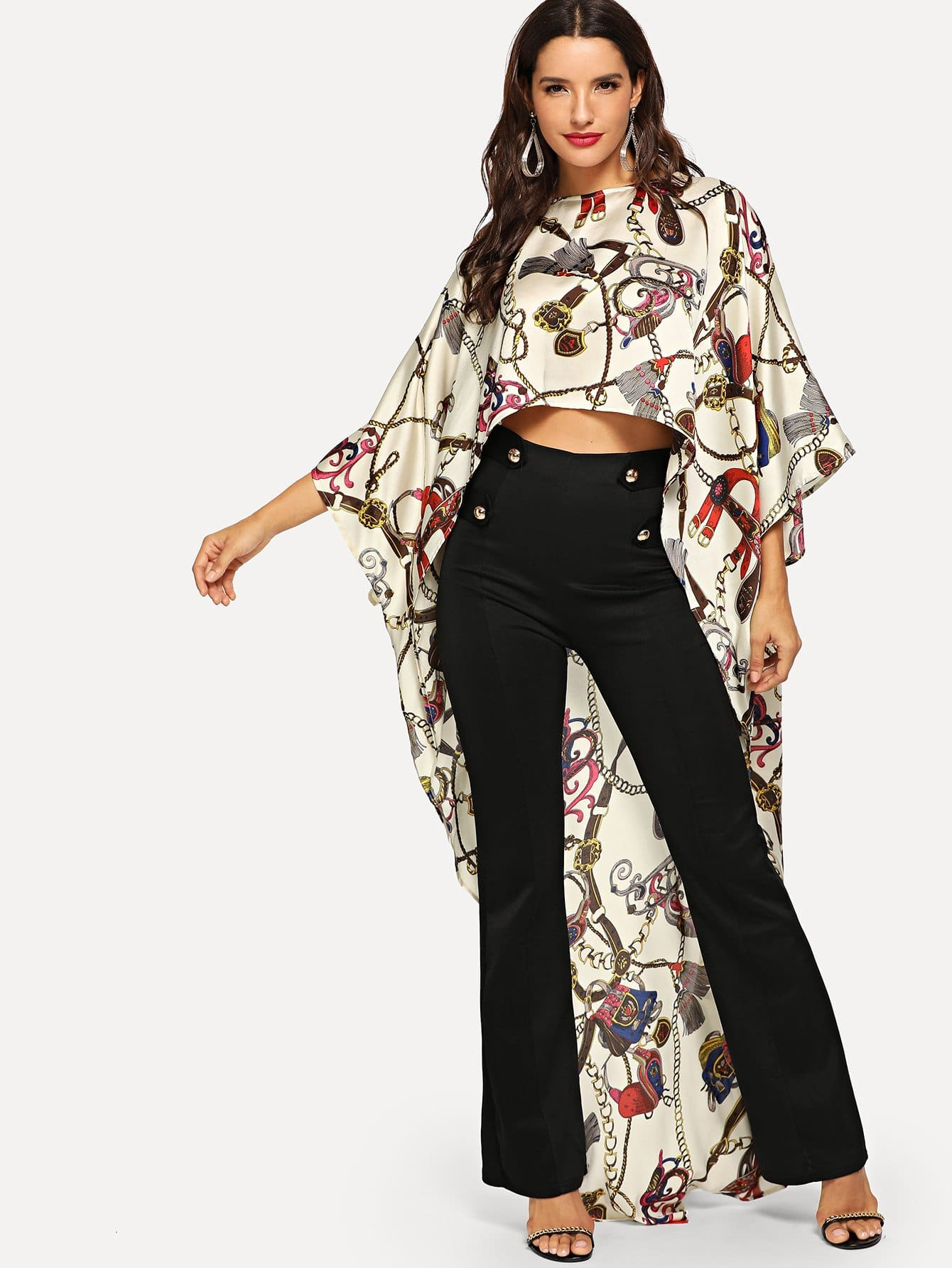 Купить Пончо блузка с асимметричным низом и с принтом, Juliana, SheIn