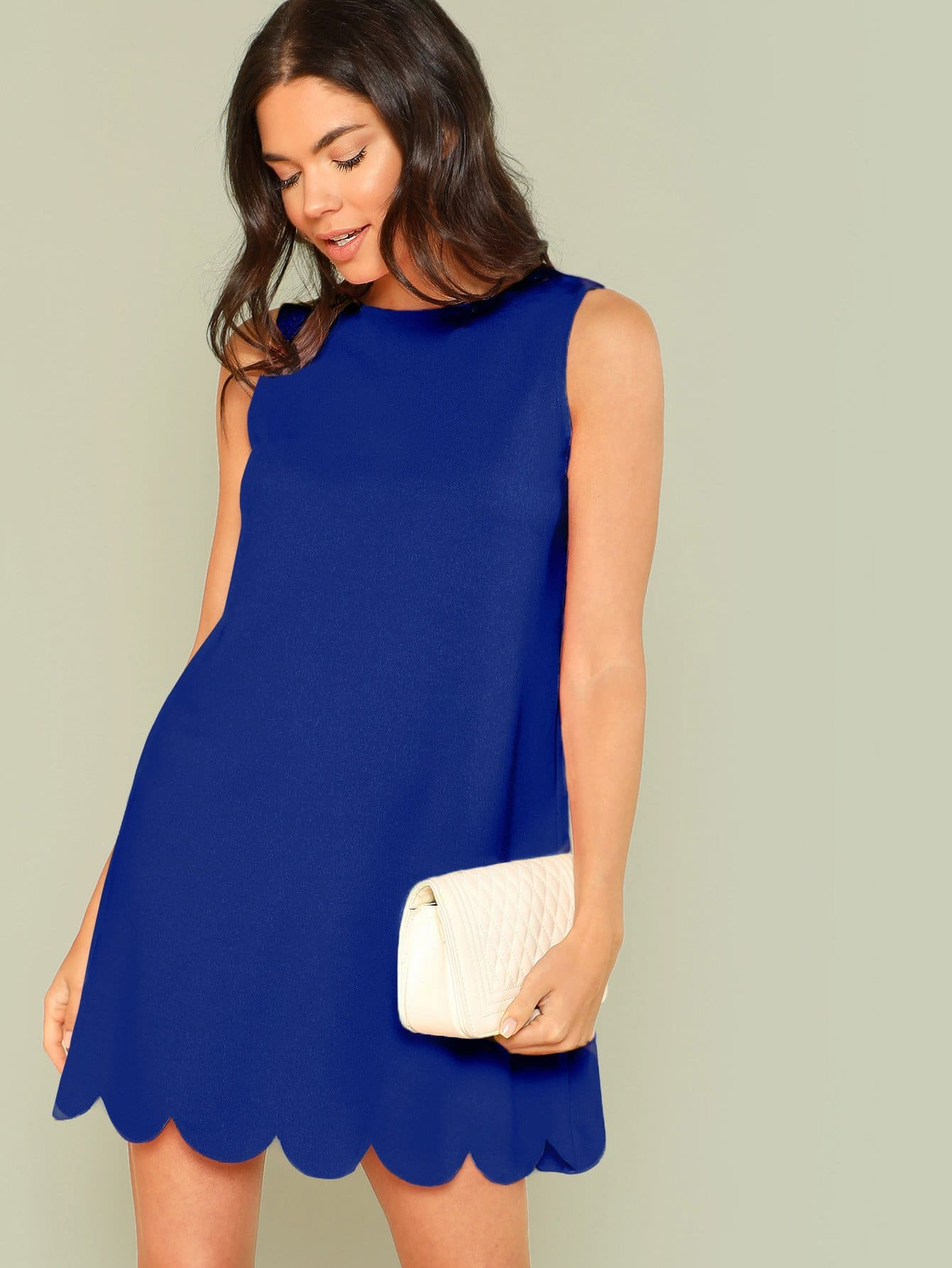 Купить Одноцветное платье с веерообразным низом, Aarika Wolf, SheIn