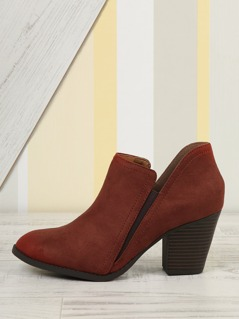 Faux Suede Almond Toe Bootie