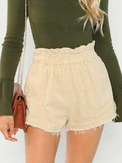Elastic Waist Corduroy Textured Paperbag Shorts