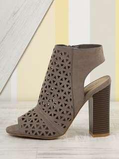 Perforated Peep Toe Chunky Heel Sandals