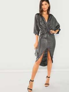 Gathered Front Metallic Dress