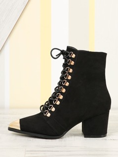 Lace Up Gold Cap Toe Boots