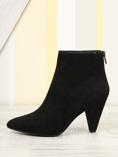 Cone Heel Pointed Toe Booties with Back Zip
