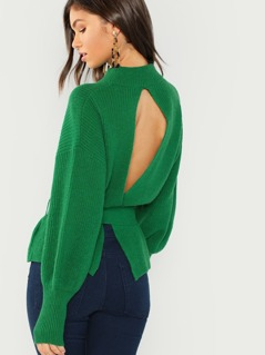 Open Back Tie Knit Sweater