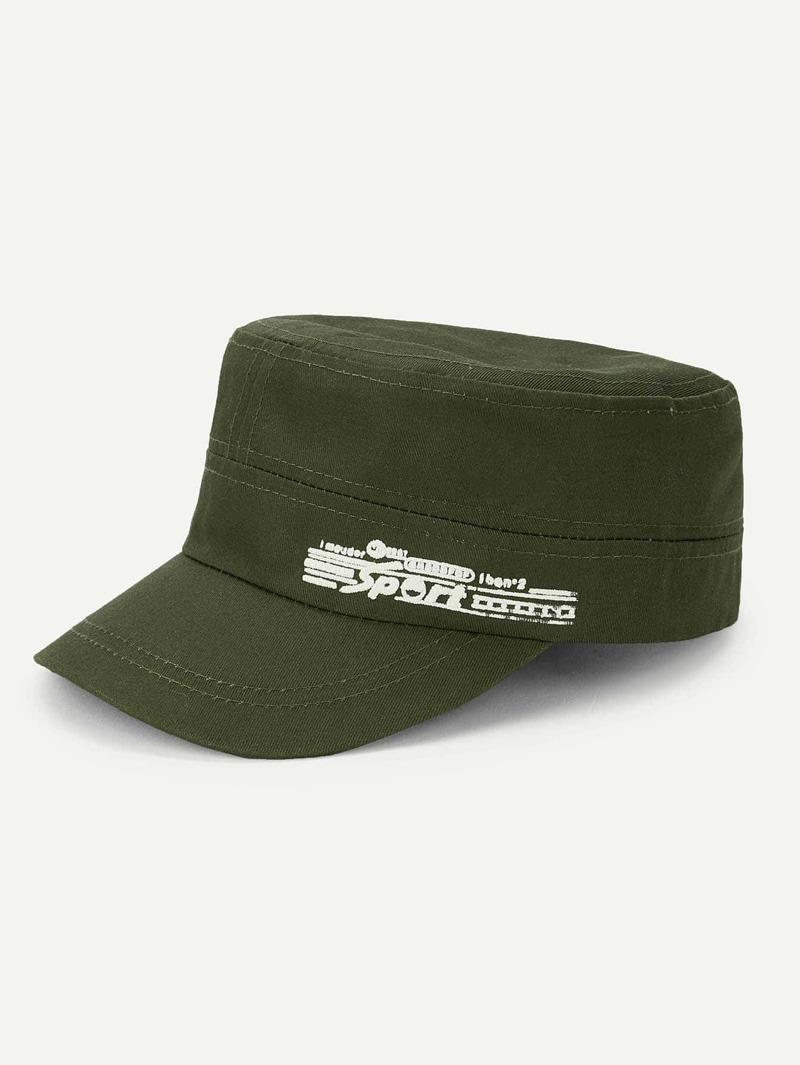 Men Letter Print Plain Army Hat, Army green