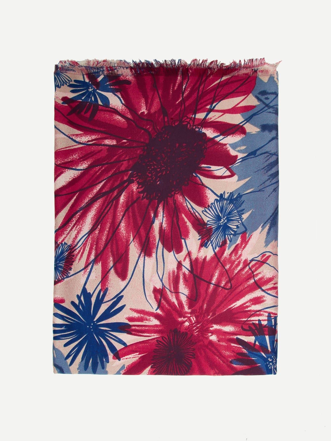 Купить Ситцевый шарф со сырыми оторочками, null, SheIn