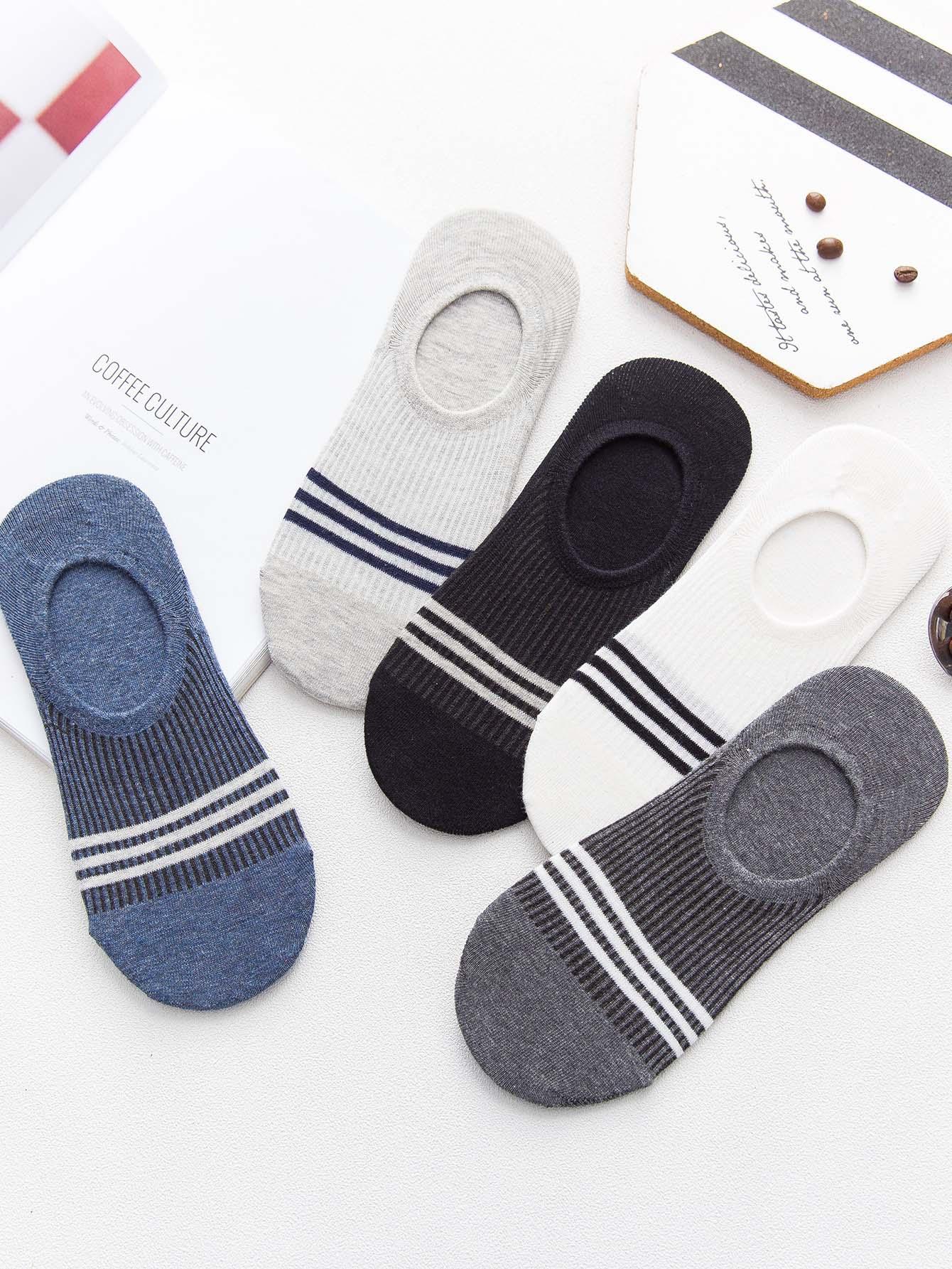 Купить Полосатые невидимые носки 5 пар для мужчины, null, SheIn