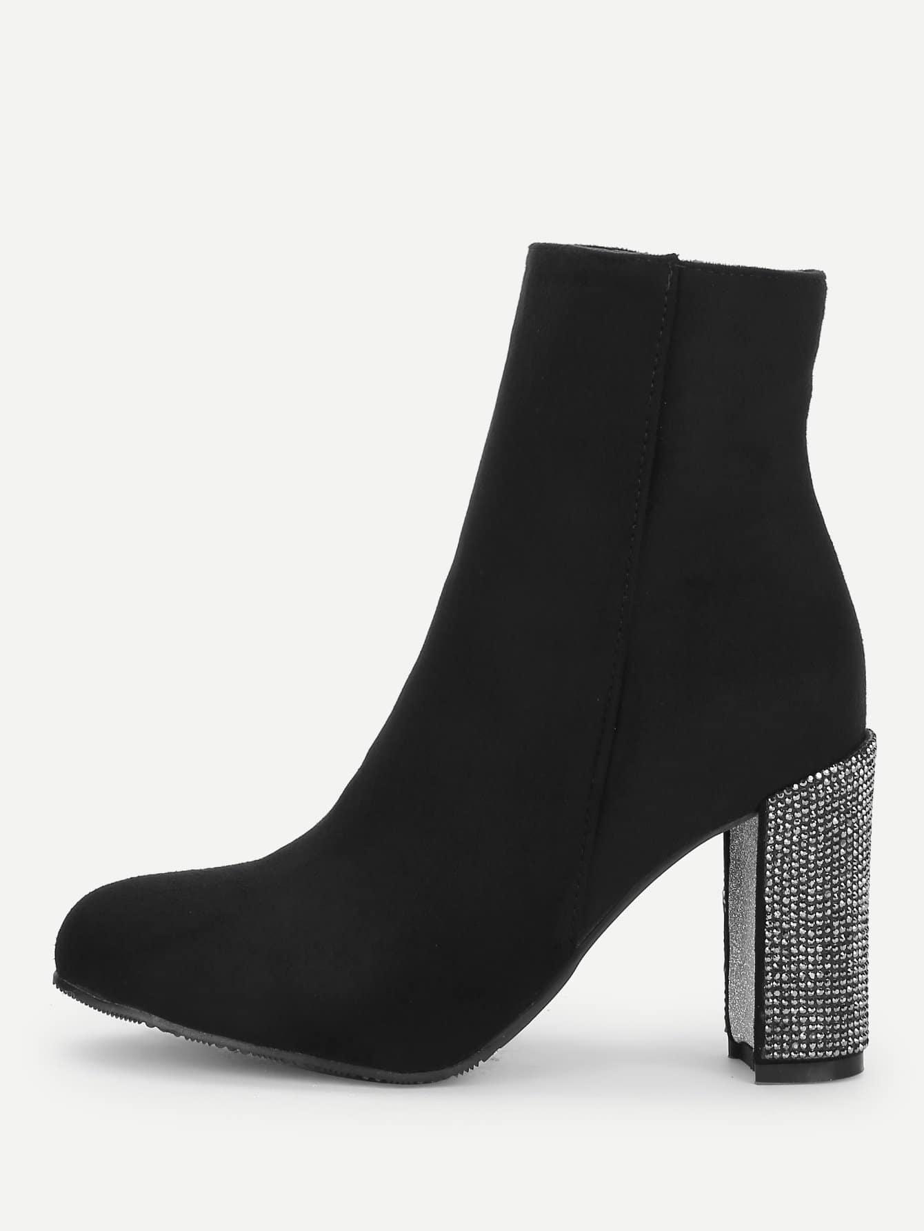 Купить Сапоги на высоких каблуках и с украшением бриллиантов, null, SheIn