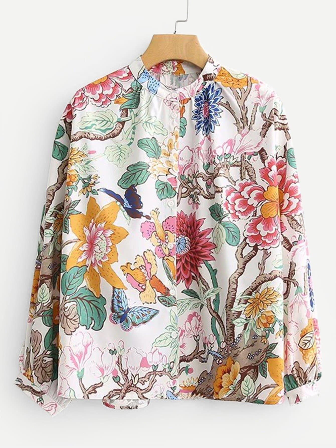 Купить Общая ситцевая блуза, null, SheIn