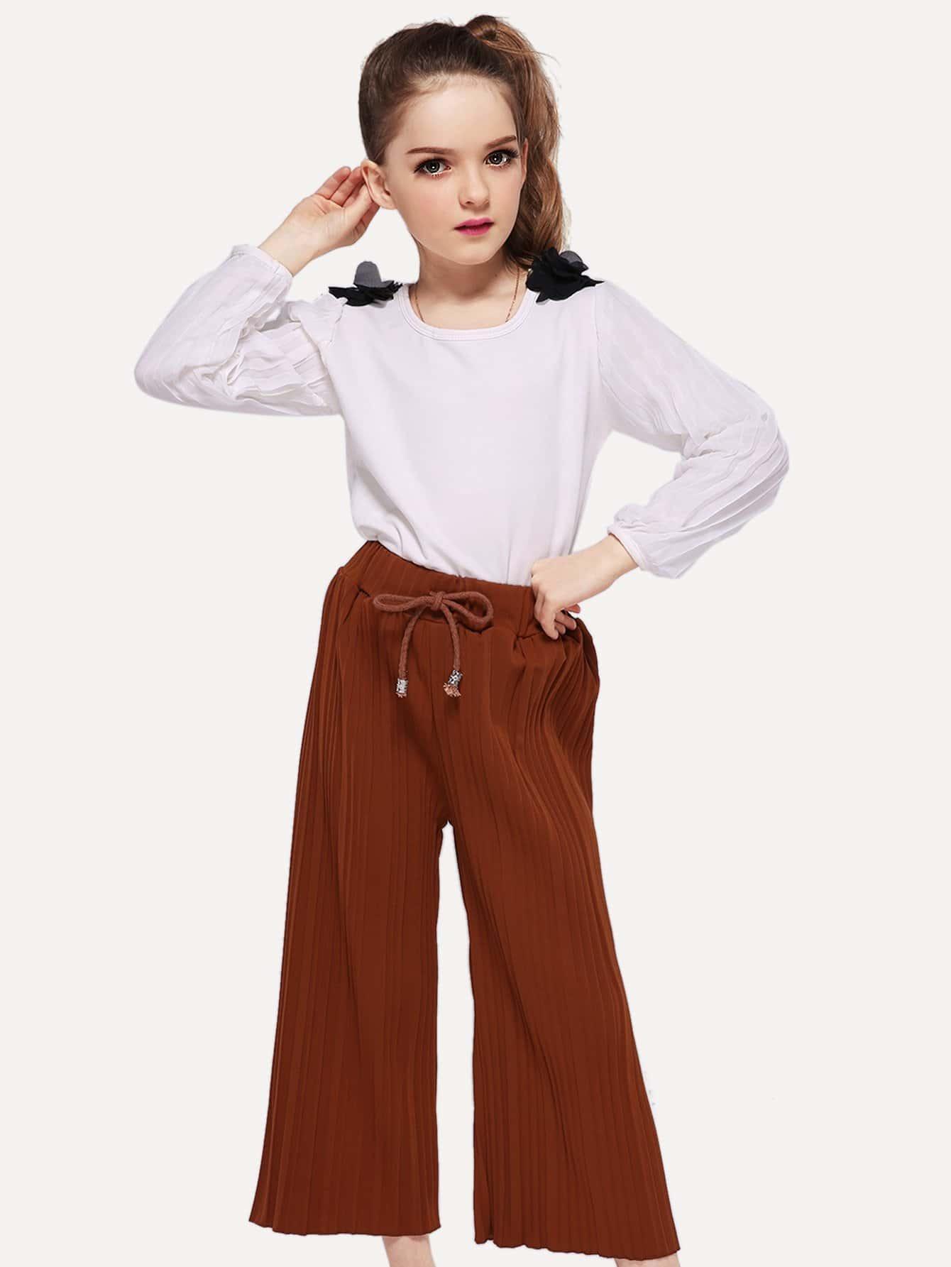 Купить Симметрическая сетчатая простая блуза для девочки, null, SheIn