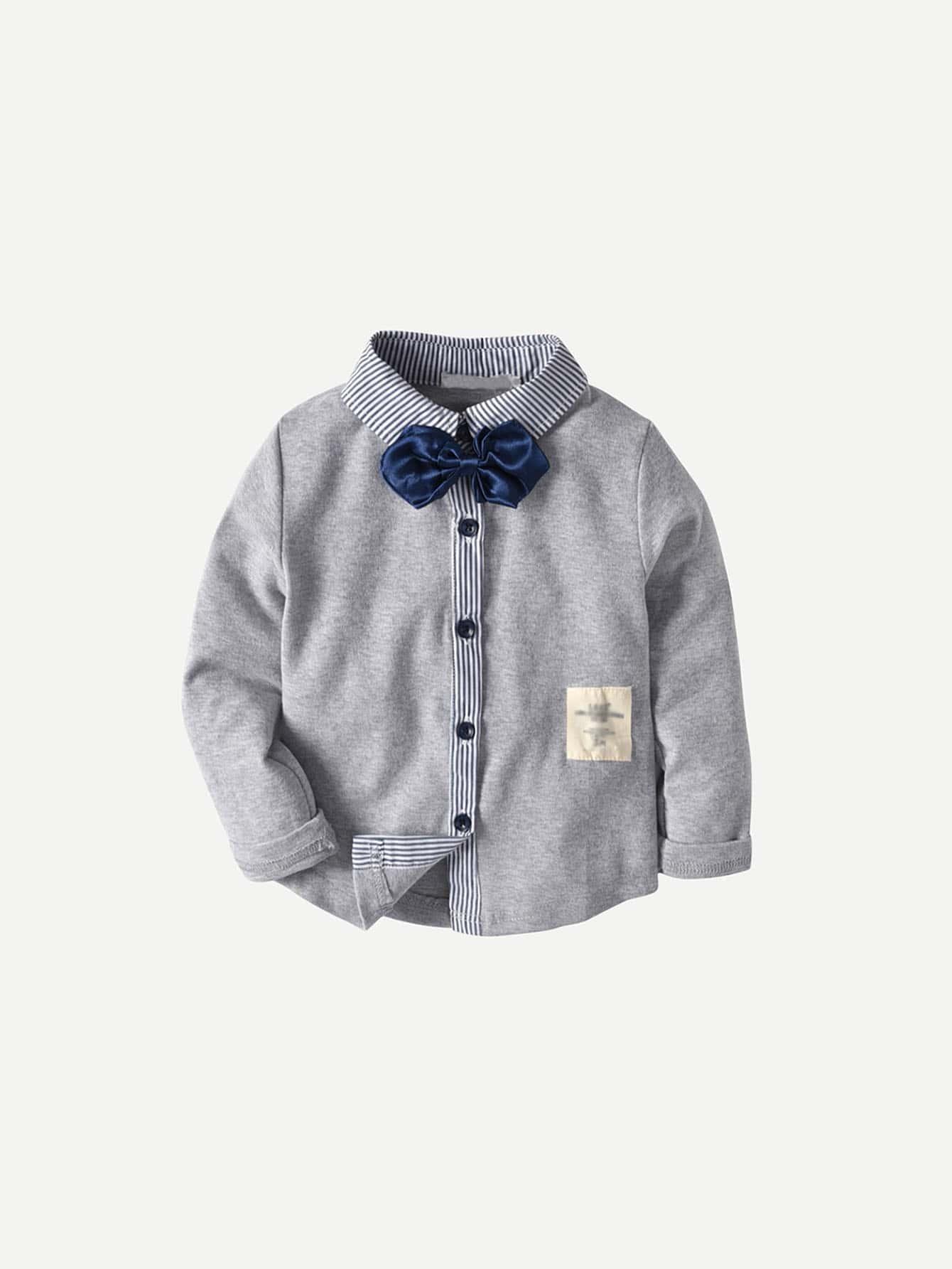 Boys Bow Front Contrast Striped Shirt