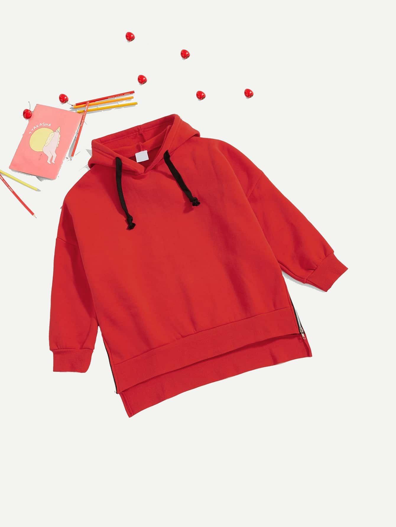 Girls Zipper Detail Dip Hem Hooded Sweatshirt