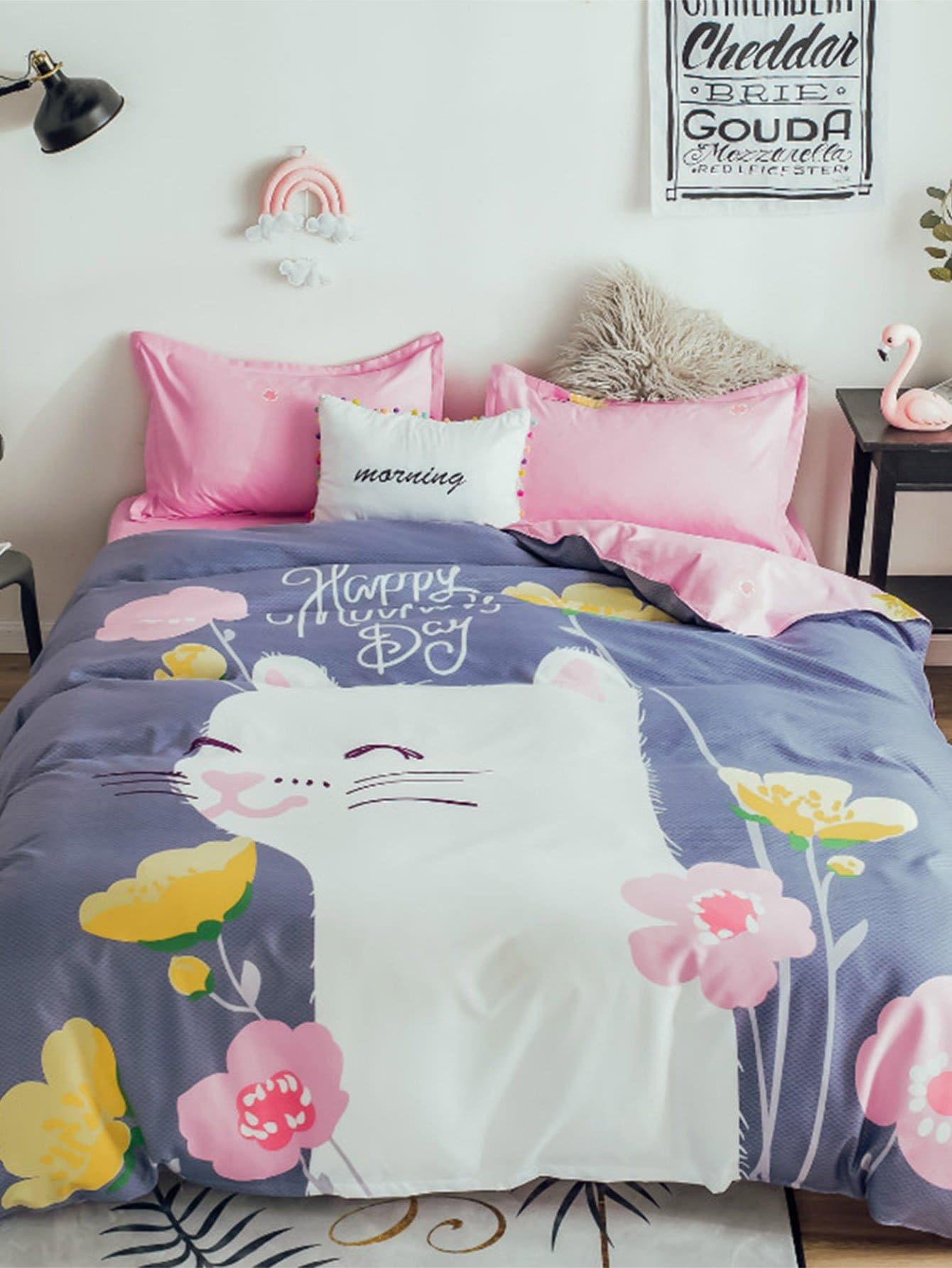 Cat & Flower Print Sheet Set