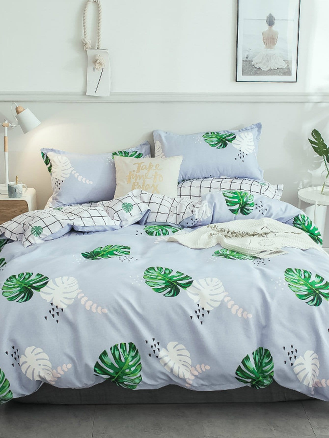 Leaf & Plaid Print Sheet Set