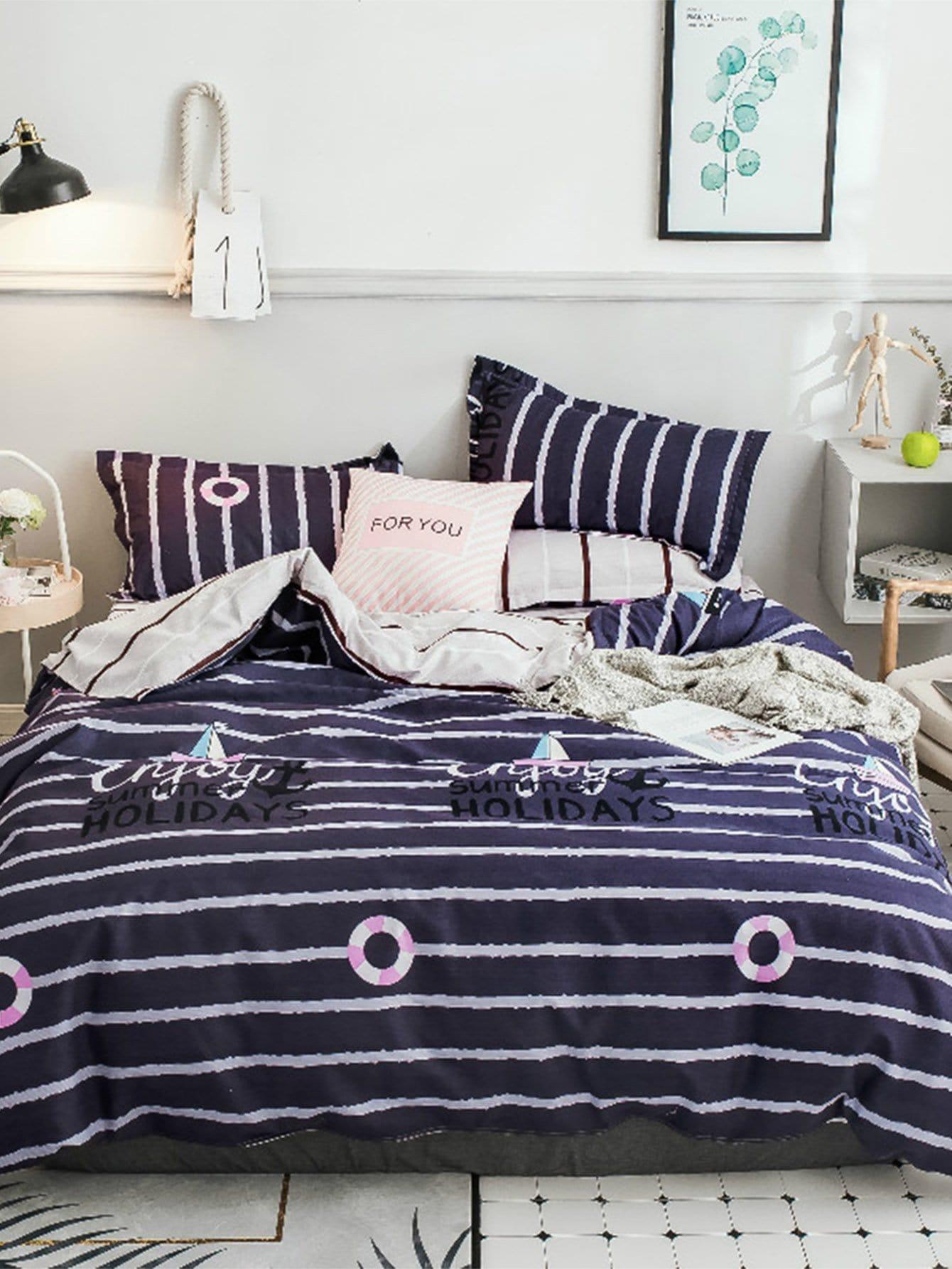 Купить Комплект полосатого постельного белья с рисунками буквы, null, SheIn