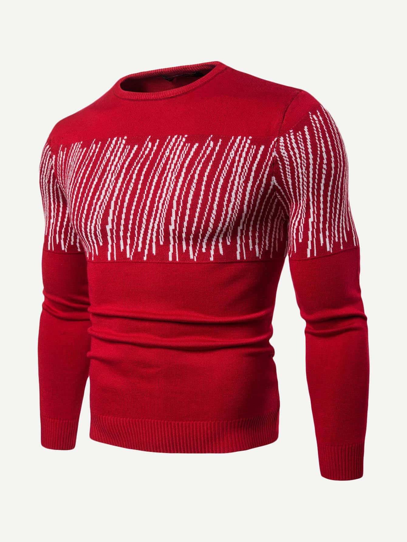 Men Abstract Striped Pattern Jumper