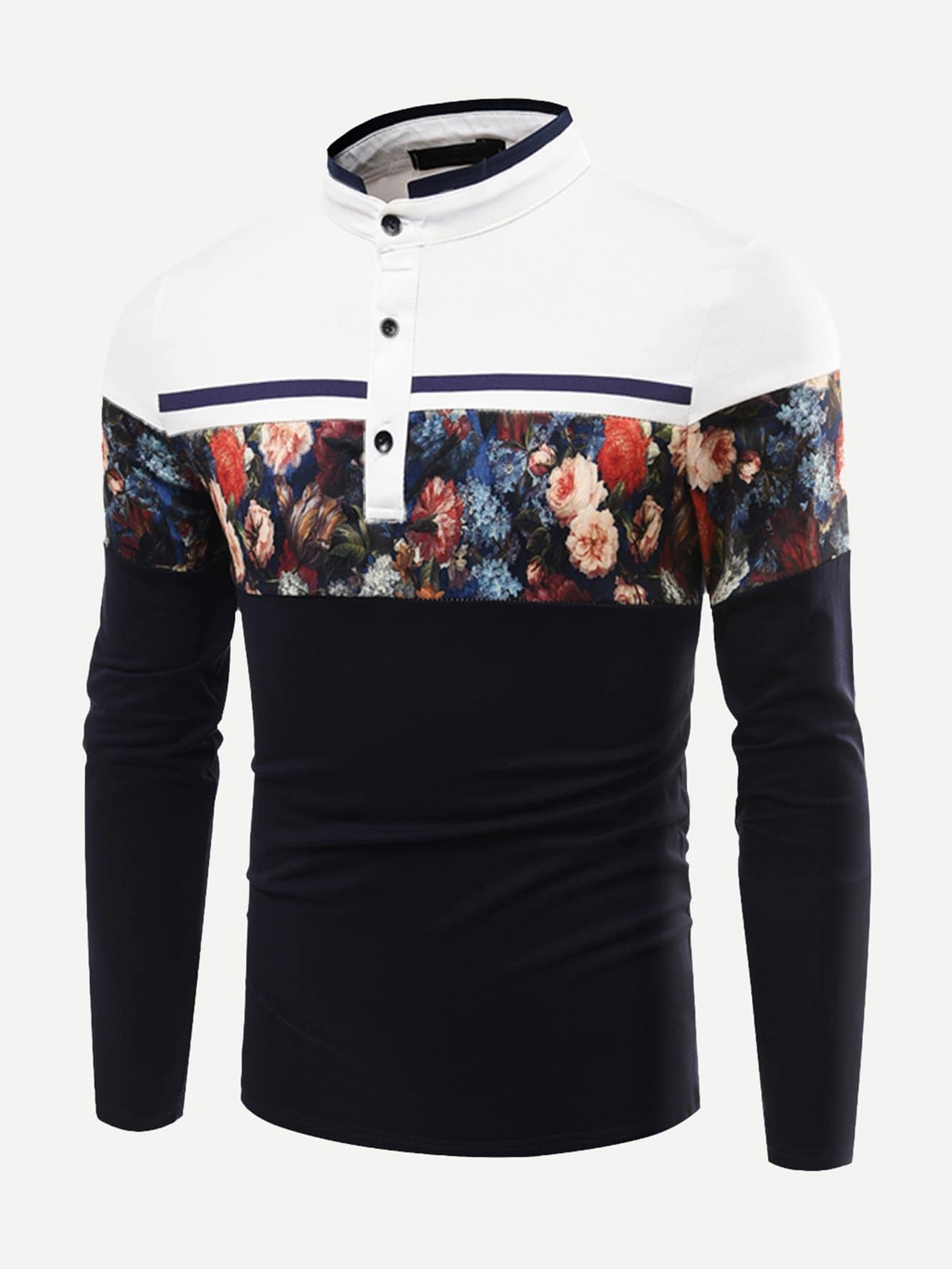 Men Cut And Sew Panel Floral Print Polo Shirt