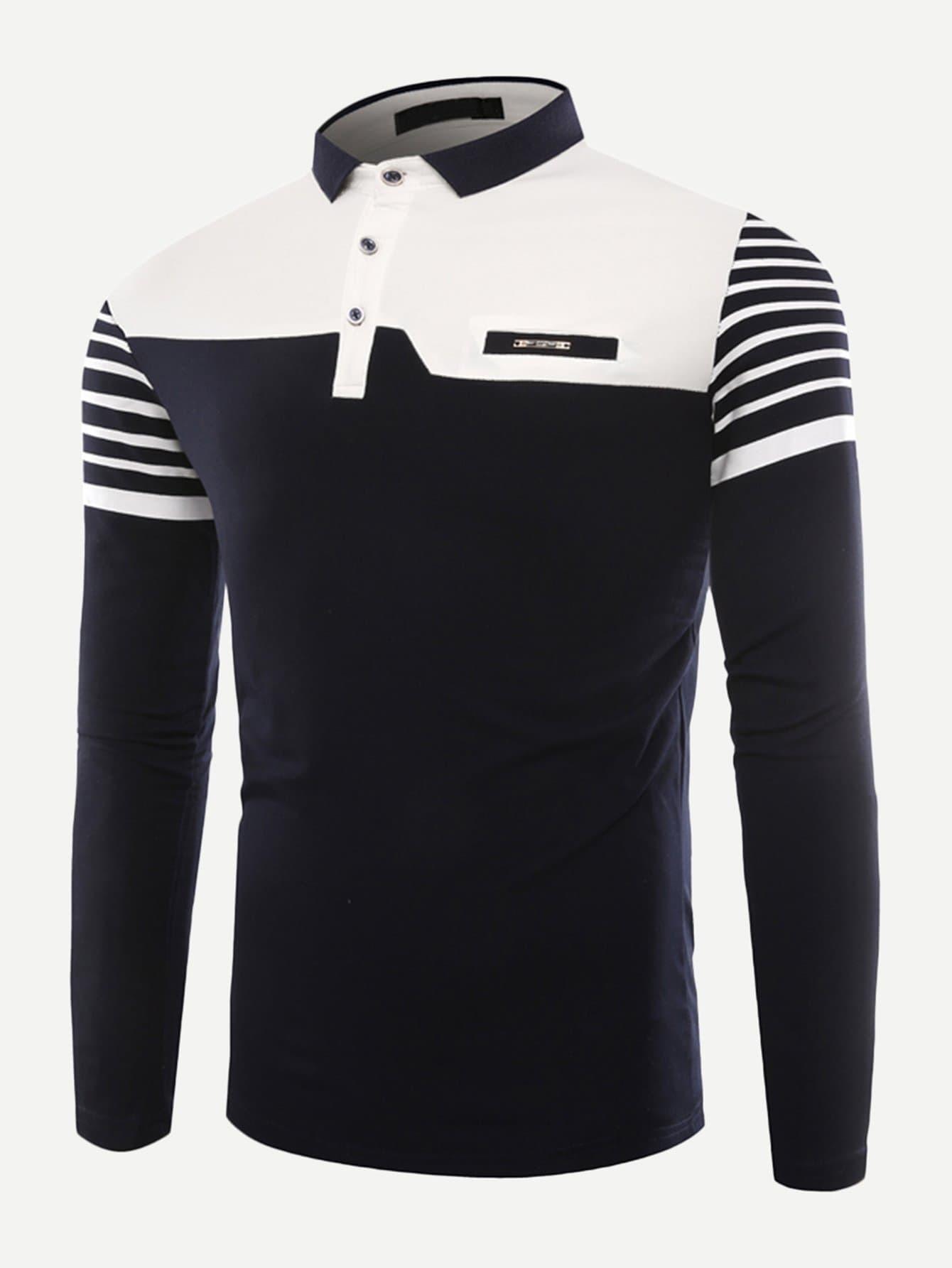 Купить Контрастная полосатая поло футболка для мужчины, null, SheIn