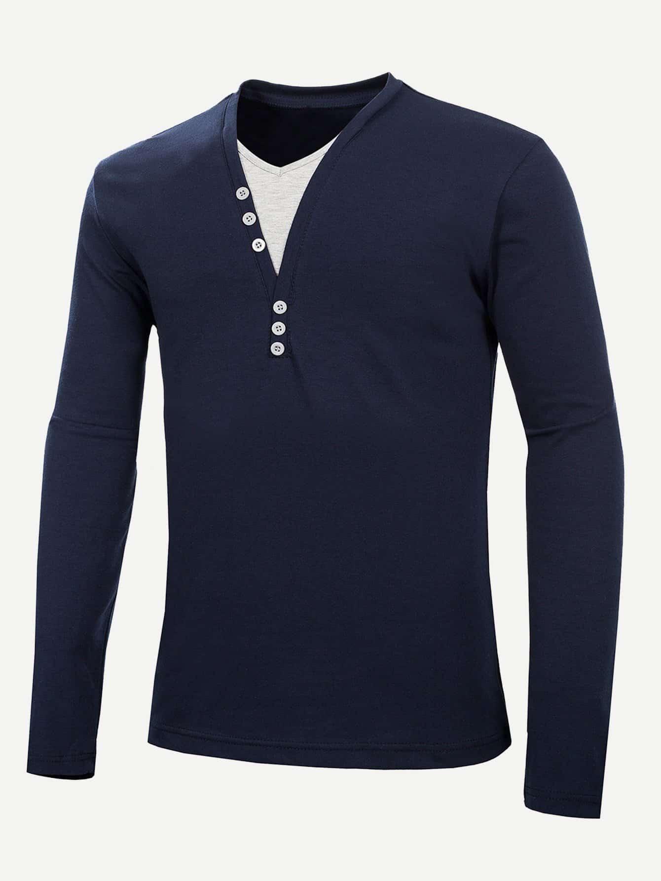 Купить Простая футболка с украшением пуговицы для мужчины, null, SheIn