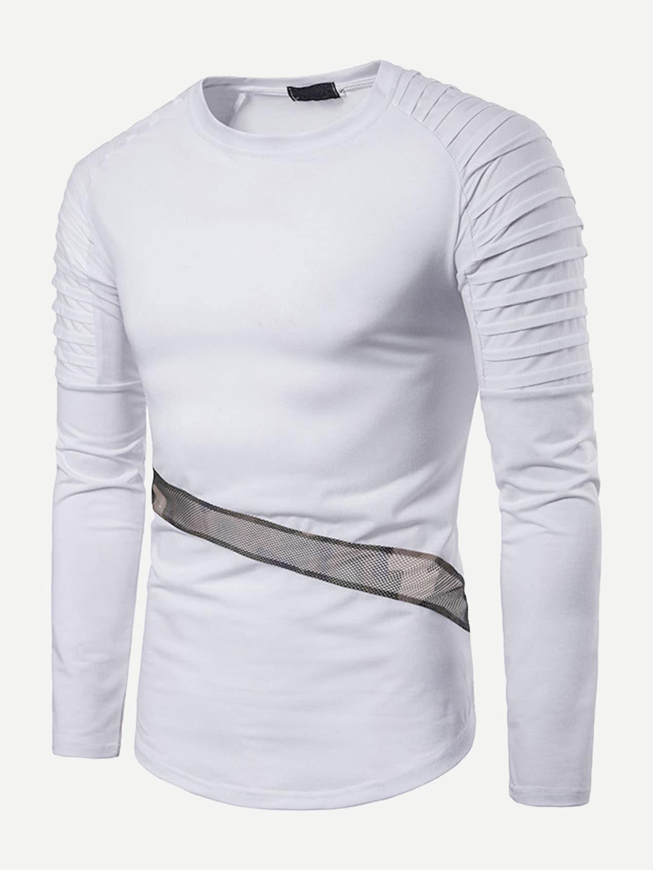 Купить Симметрическая сетчатая футболка с рукав-регланами для мужчины, null, SheIn