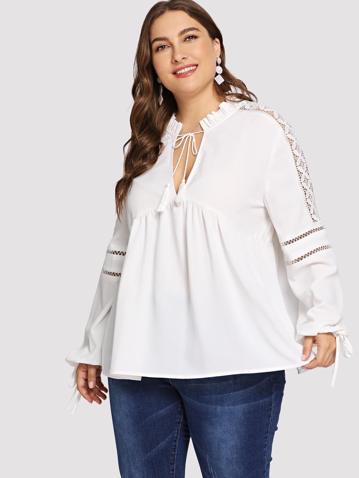 大尺碼 對比色蕾絲 褶邊 裝飾 襯衫