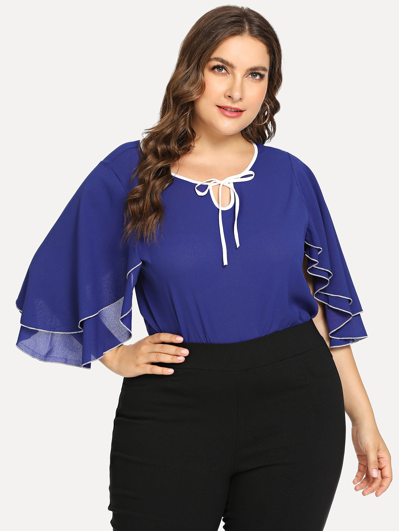 Plus Butterfly Sleeve Knot Neck Blouse