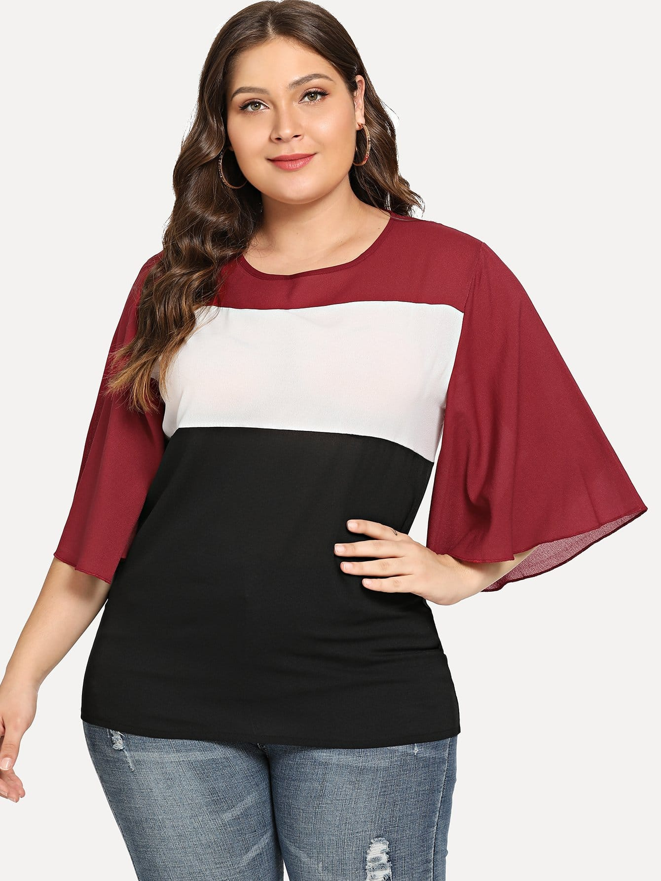 Plus Bell Sleeve Color Block Blouse