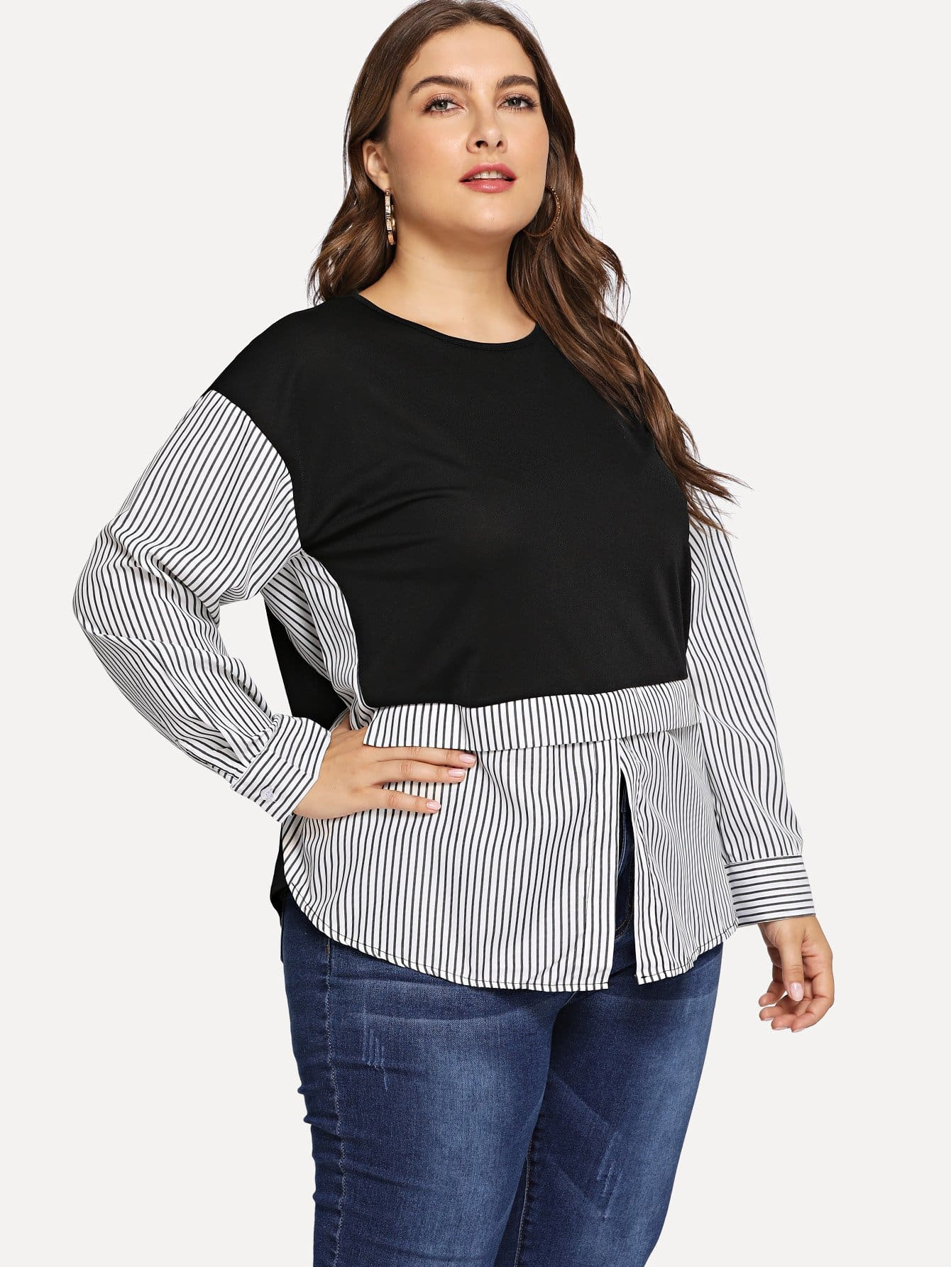 Plus Cut And Sew Panel Striped Blouse