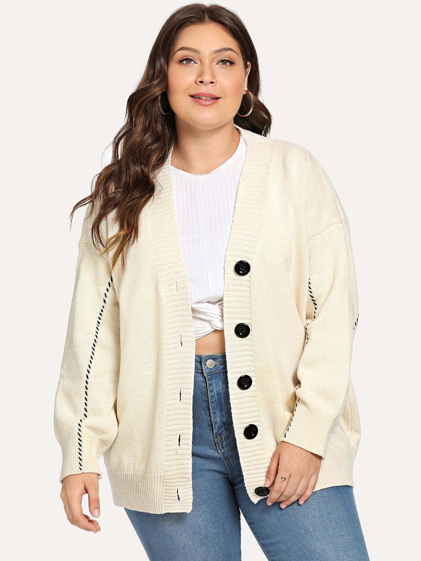Plus Drop Shoulder Single-breasted Sweater