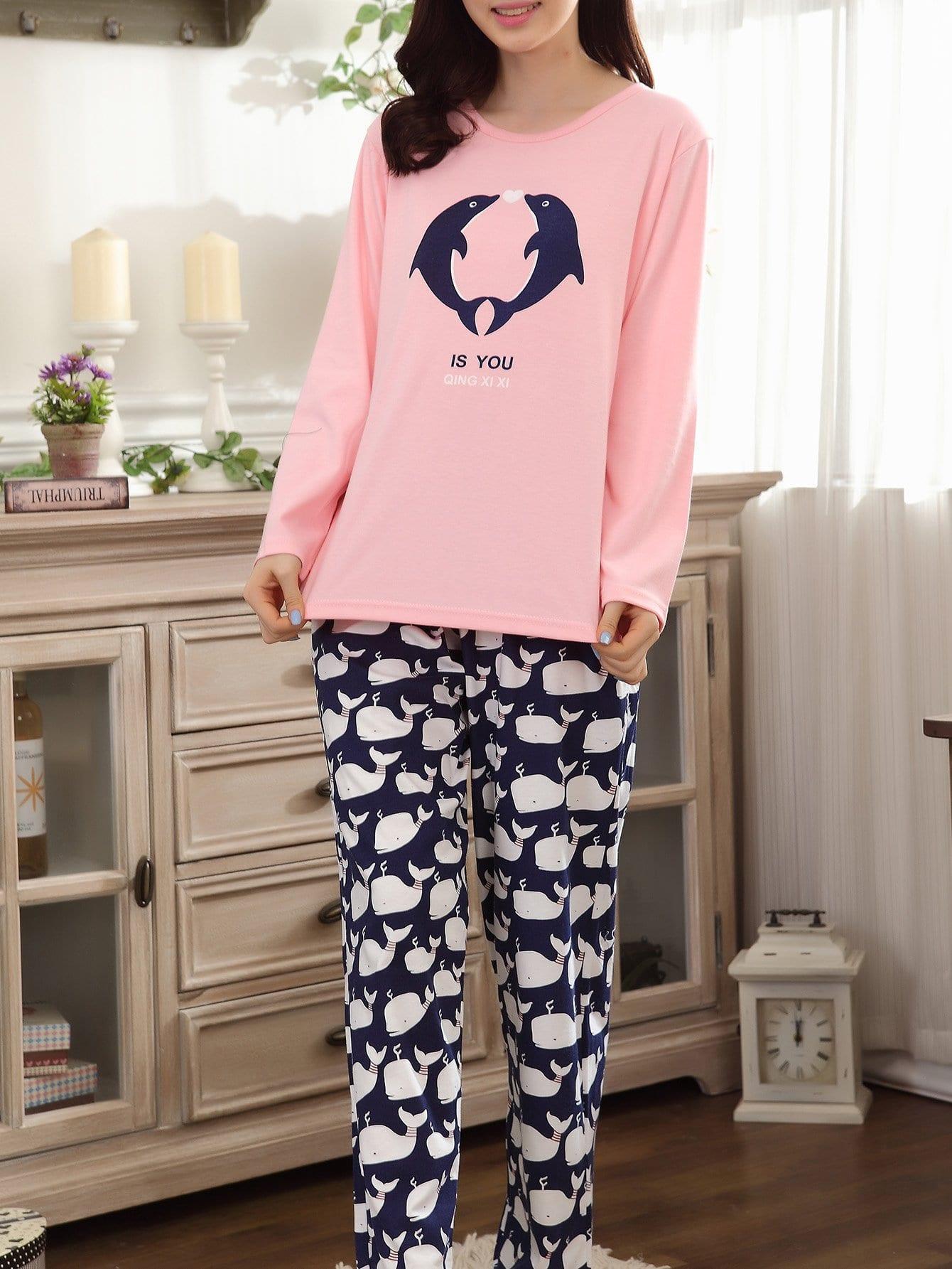 Dolphin & Whale Print Pajama Set