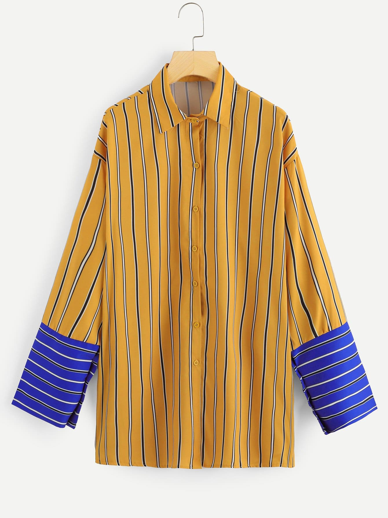 Striped Single Breasted Colorblock Blouse