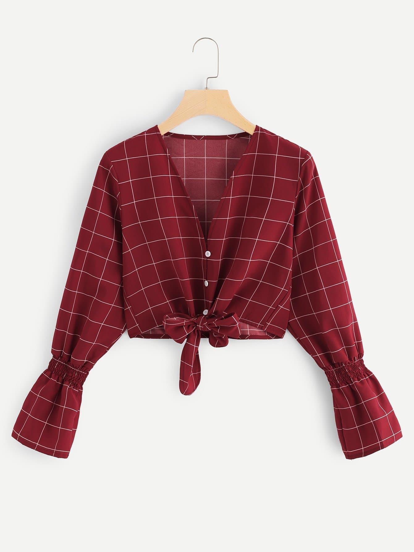 Bluse mit Plaid Muster, Knoten und Saum