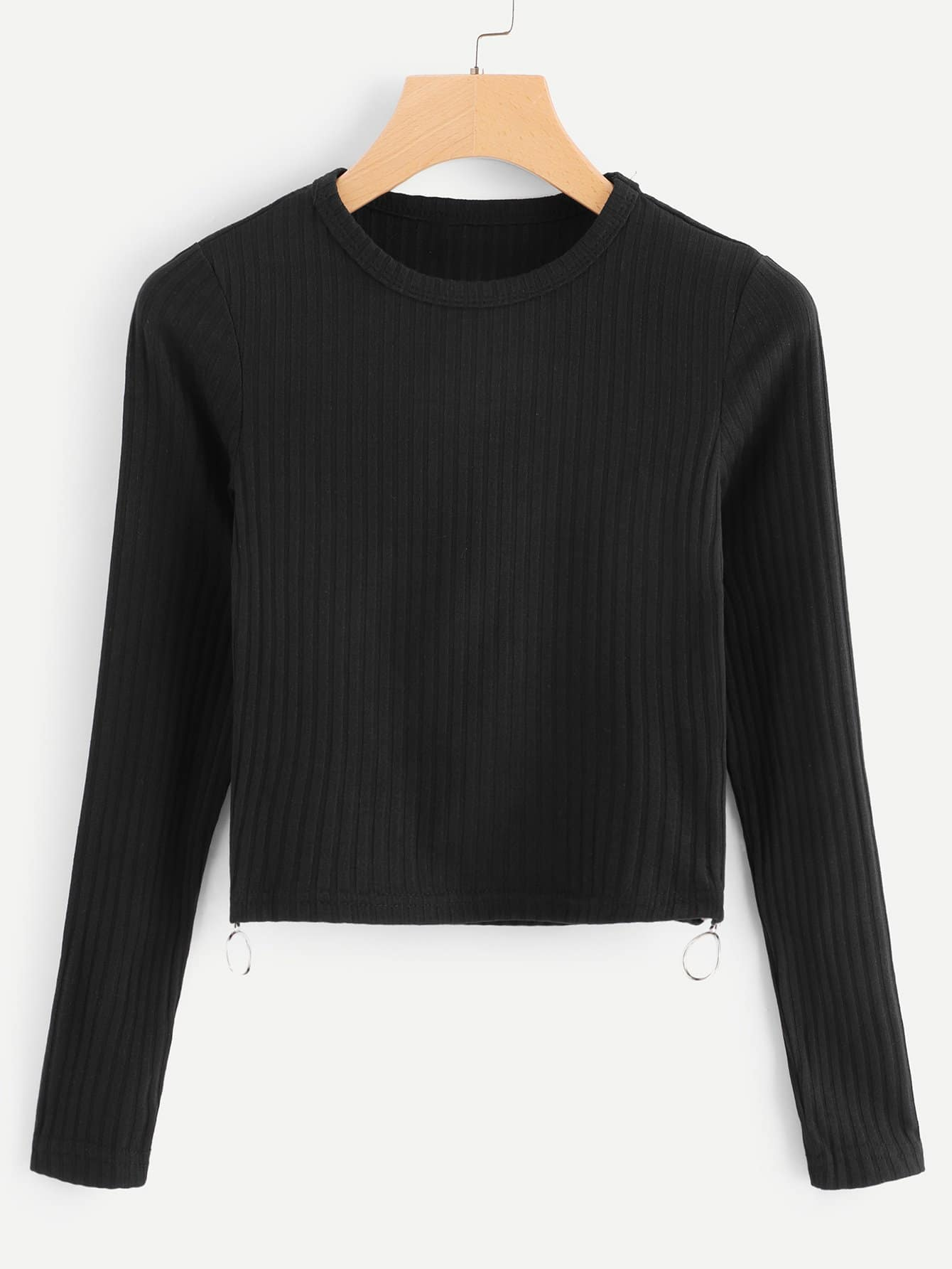 Zipper Side Ribbed Knit Tee