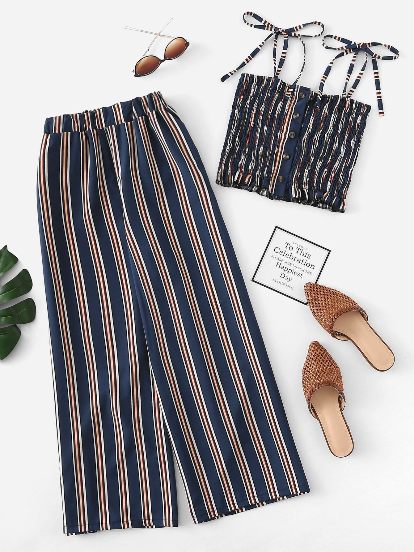 Tie Shoulder Striped Cami With Pants