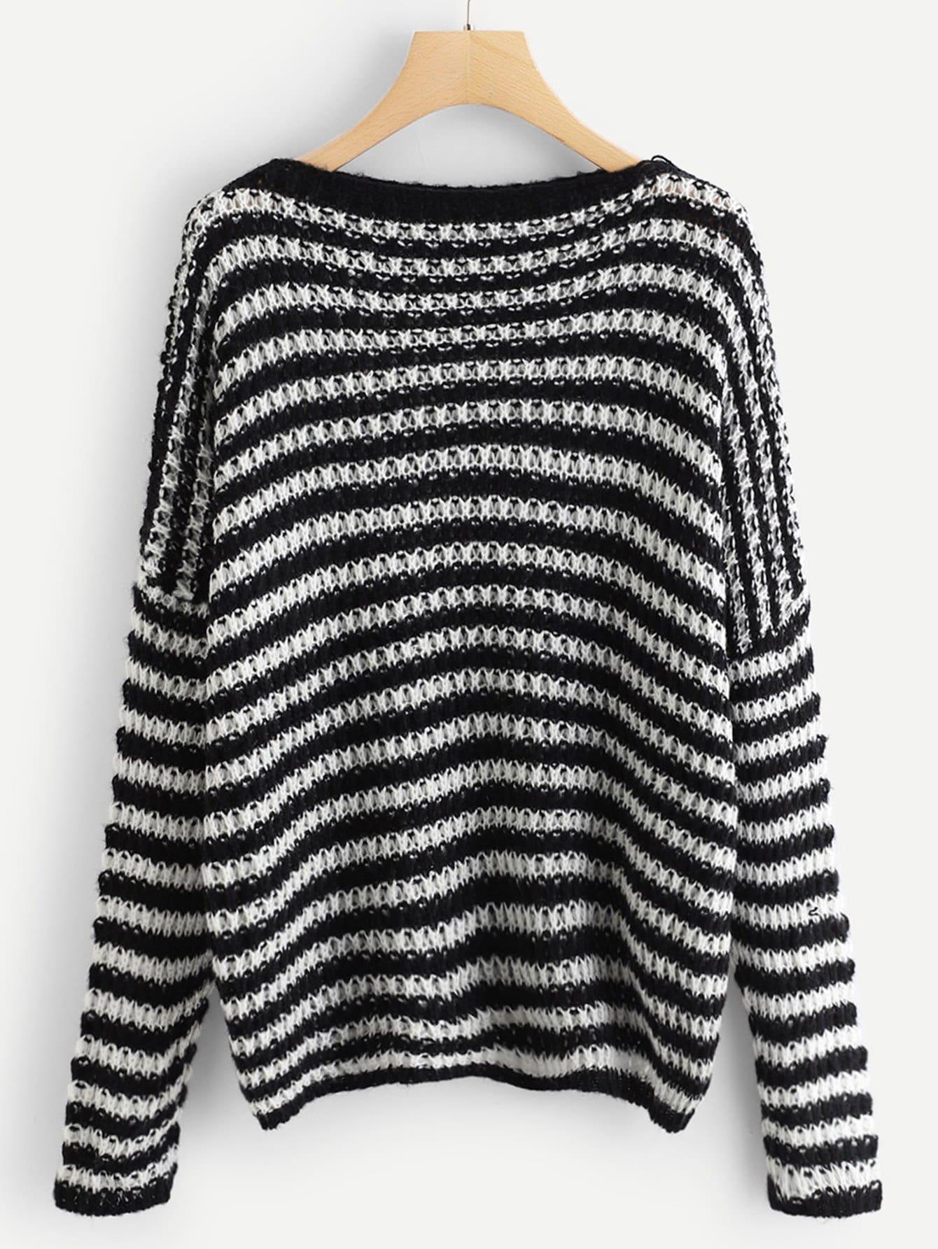 Übergroßer Pullover mit sehr tief angesetzter Schulterpartie und Streifen